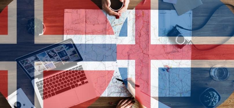Flagi Norwegii i Islandii